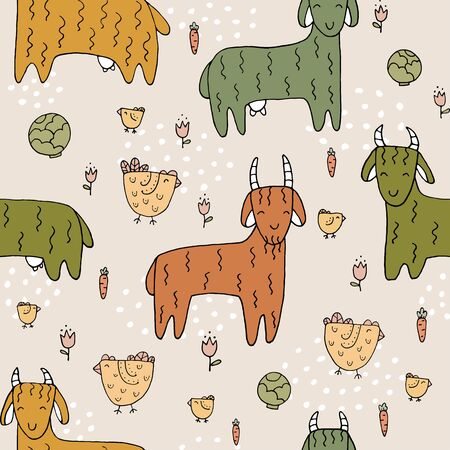 Seamless texture with funny goats and hand drawn elements. Childish background - animals on the farm.