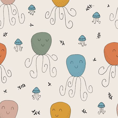 Seamless texture with octopuses and hand drawn elements.