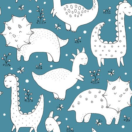Seamless texture with funny dinosaurs and hand drawn elements.