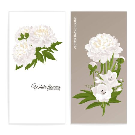 Floral posters, banners, greeting card - peonies, lilies. Festive compositions with flowers. Vector illustration.  イラスト・ベクター素材
