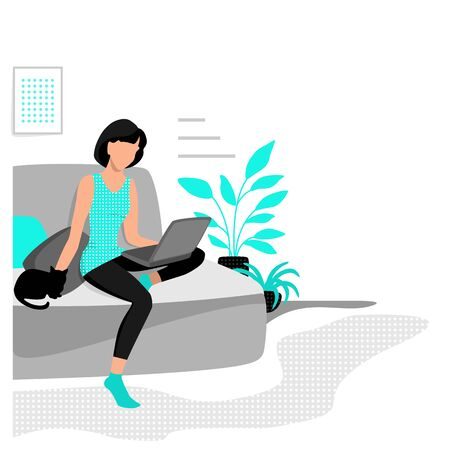 Girl sitting at home on the couch with a laptop. Work, training and entertainment at home. Eps 10  vector illustration.