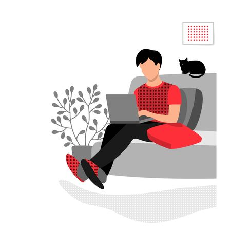 A man sits at home on the couch with a laptop. Work, training and entertainment at home. Eps 10  vector illustration. Иллюстрация