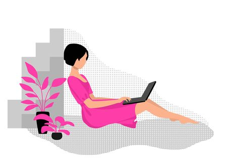 A woman works on a laptop from home. Work, training and entertainment at home.