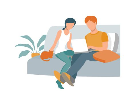 A man and a woman at home with a laptop. Work, training and entertainment at home.. Eps 10  vector illustration.
