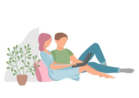 A man and a woman at home with a laptop. Work, training and entertainment at home.. Eps 10