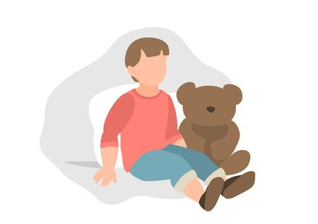 Drawing of a seated child with toys. Eps 10  vector illustration.