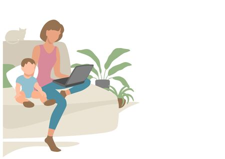 Mom with a child sits on the couch and looks at the laptop screen. Eps 10  vector illustration. Illusztráció
