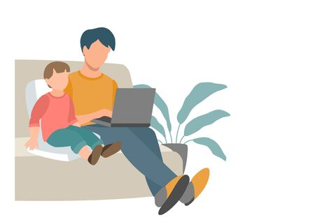 Dad and baby are sitting on the couch and looking at the laptop screen. Eps 10  vector illustration.