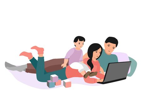 Mom, dad and baby are looking at the laptop screen. Family at home. Work, training and entertainment at home. Eps 10  vector illustration.