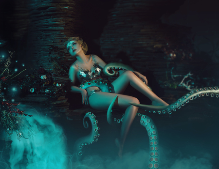 beautiful slim girl in the arms of an octopus, tentacles wrap around the body, fantastic shot, toning fashionable, creative colors