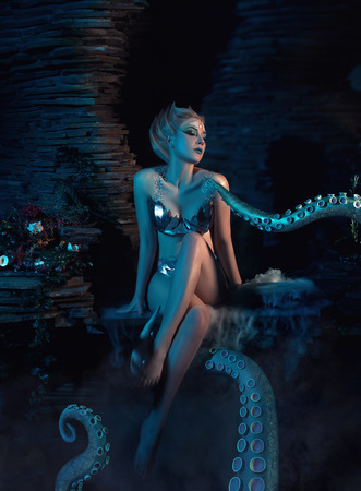 body toning: beautiful slim girl in the arms of an octopus, tentacles wrap around the body, fantastic shot, toning fashionable, creative colors