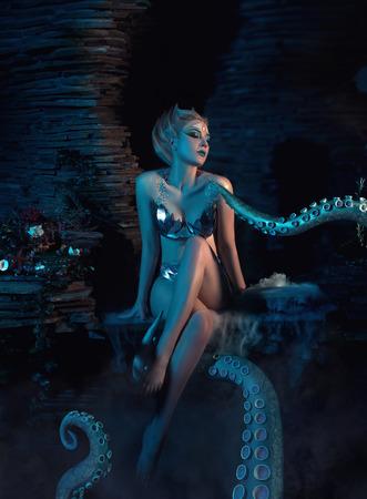 Belle fille mince dans les bras d'un poulpe, tentacules enrouler autour du corps, tir fantastique, tonifiant, les couleurs à la mode créatives Banque d'images - 51332025