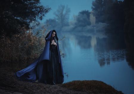 Tonifiant la mode, les couleurs de l'ordinateur de création, la veille de Bonjour ween sorcière pour évoquer et a décidé de faire cuire une potion dans le réservoir, debout près du lac mystique. Banque d'images - 51250232