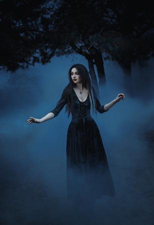 Tonifiant la mode, les couleurs de l'ordinateur de création, la veille de Bonjour ween sorcière pour évoquer et a décidé de faire cuire une potion dans le réservoir, debout près du lac mystique. Banque d'images - 51250233