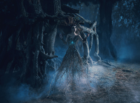 The spirit wanders the woods in the dark magic forest girl tree took root near the mighty oak,mystical image, spells,fashion creative color toning