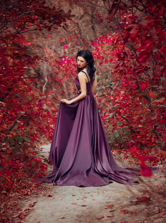 Lady in a luxury lush purple dress swirls in the smoke,fantastic shot,fairytale princess is walking in the autumn forest,fashionable toning,creative computer colors 写真素材