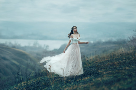 The girl in transparent dress with long flying pastel train stands on the top of the mountain , Shabby chic, boho style , fashion creative computer color rendering Stockfoto