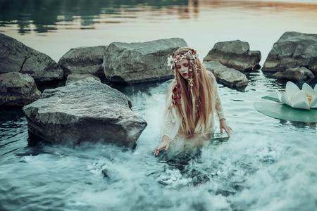 pequeña hada -eared se encuentra rodeada de fantásticas lirios de hadas en el lago, puesta disparo desde el agua, la imagen de la moda de cuento de tono de color creativo Foto de archivo