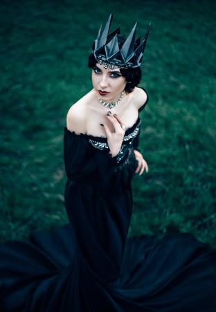 sneaks: A dark evil queen sneaks through the blooming gardens, white wild Princess, vampire, thigh toning, creative color, dark bohemian