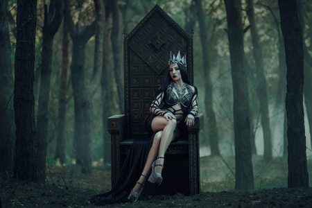 dark evil queen sitting on a luxurious throne, wild Princess , vampire , hip toning , creative color,dark boho