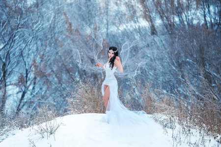 Luxurious brunette in a white dress standing in a snowy forest, Snow Queen, fairytale princess, a fantastic shot, a fashionable toning, creative color