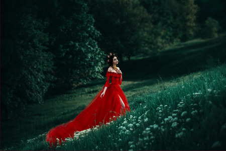 countess in a long red dress  is walking in a green forest full of branches, elf,  Princess in vintage dress, the queen of the forest,fashionable toning creative computer colors Stockfoto