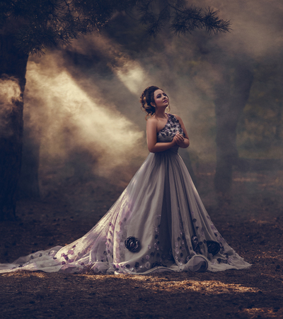 Lady in a luxury lush purple dress swirls in the smoke,fantastic shot,fairytale princess is walking in the autumn forest,fashionable toning,creative computer colors Stock Photo