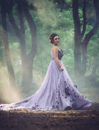 Lady in a luxury lush purple dress swirls in the smoke,fantastic shot,fairytale princess is walking in the autumn forest,fashionable toning,creative computer colors Stockfoto
