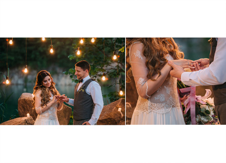 wedding night: Unusual, beautiful wedding night under the open sky.Luxurious decoration with lights and candles.Retro style.The ceremony on the background of beautiful nature. put on wedding ring.Fashionable toning.