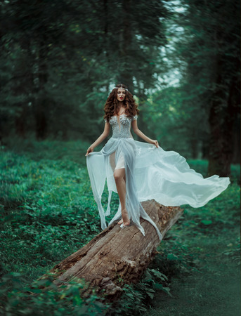 Fantastic photo shoot of a luxury elf.Great long dress handmade. Cute beautiful fairy with long hair. Natural landscapes the magical world of the forest.Toning fashion.Creative color. Stock Photo