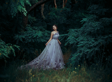 exclusive photo: Ladies luxury lush long dress with unusual patterns. Fairy Princess walking in the miraculous, the fantastic forest. Outfit - exclusive handmade. Photo Fairy. Fashionable toning. Creative computer colors. Stock Photo