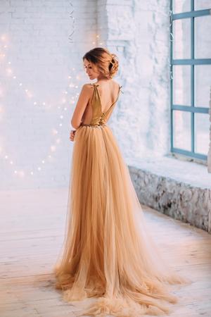 La jeune fille brune dans une robe luxueuse. Salle blanche d'arrière-plan. Couleurs du film Banque d'images - 75558354