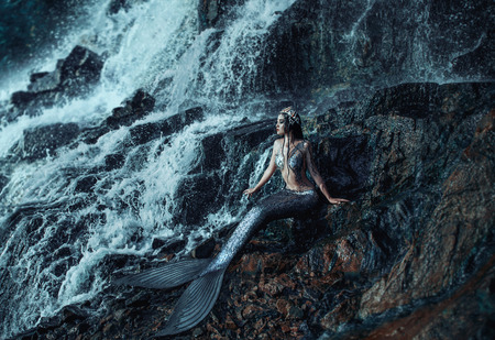 The real mermaid is resting on the ocean shore. Silver tail, the body is covered with scales. Creative colors Archivio Fotografico