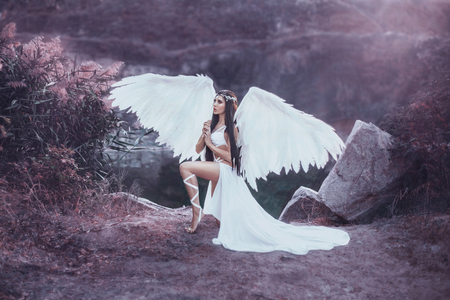 A beautiful white archangel descended from heaven. A girl in a sexy suit with huge white wings. Artistic Photography Stock Photo