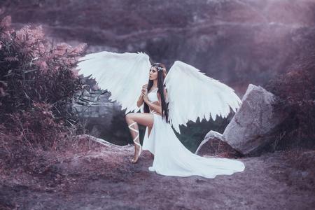 Een mooie witte aartsengel afstamt uit de hemel. Een meisje in een sexy pak met enorme witte vleugels. Artistieke fotografie
