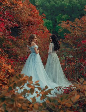 Due bellissime principesse stanno camminando in abiti lussuosi con un lungo treno. Bella natura autunnale del fondo, alberi ingialliti. Fotografia da favola Archivio Fotografico - 89703645
