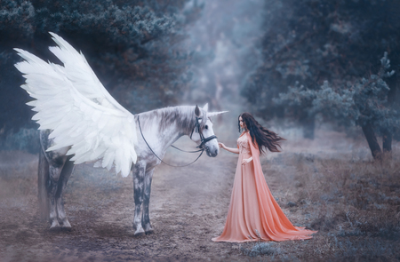 Beautiful, young elf, walking with a unicorn in the forest She is dressed in a long orange dress with a cloak. The plume beautifully waves in the wind. Artistic Photography Standard-Bild - 94208114
