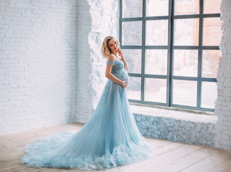 Young, pregnant woman posing in a luxurious, lush, blue dress with a long fairy train. The background is a light interior in Scandinavian style and a huge window. Art photo
