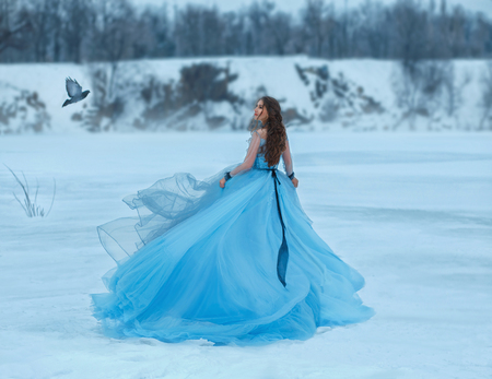 Cinderella in a luxurious, lush, blue dress with a magnificent train. A girl walks on a frozen lake covered with snow. Near her flies a bird the woman smiles sweetly at her for a meeting. Art photo Archivio Fotografico