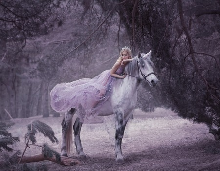 A fairy in a purple, transparent dress with a long flying train lies on a unicorn. Sleeping Beauty. Blonde girl walking with pegasus in the forest. The Elven Song. Artistic processing. Standard-Bild