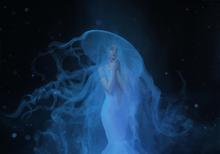 A white mermaid, with very long and blue hair floating under the water. An unusual image, the tail of a jellyfish. Levitation and weightlessness. Pale skin, gentle makeup. Art photo Stock Photo