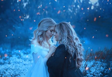 Zwei Mädchen der Elemente, Gegensätze, lieben sich kuschelig vor Zuneigung. Hintergrundnebel und geheimnisvoller Wald. Um sie herum Funken, magische Blitze. Yin und Yang. Künstlerische Fotografie Standard-Bild