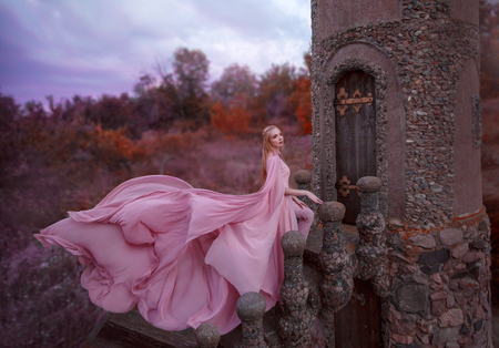 wonderful elegant girl elf with blond fair hair with tiara, wearing a luxurious long light pink fluttering dress costume, standing on the staircase to the tower of the old castle. autumn art photo