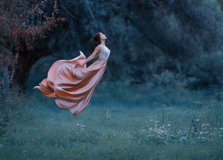 A young woman, a mysterious witch is floating in the air like a butterfly. A luxurious, long dress flutters in the wind in flight. Cold forest background. Enchanted princess. Art photo of levitation Stock Photo