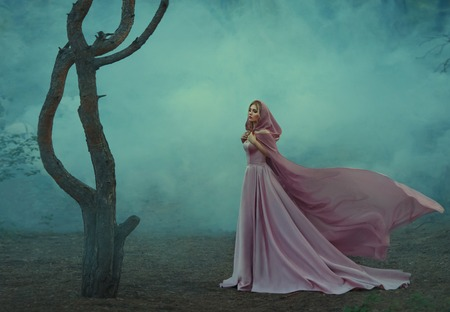 gorgeous young elf princess with blond hair, dressed in an expensive luxurious long gentle pink dress, holding a light hooded cape with her hands, a girl stands alone in a dark forest full of fog Stock fotó