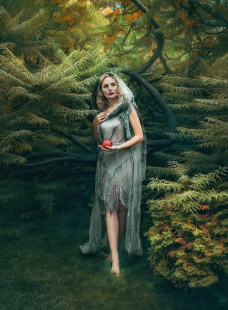 mysterious evil witch with blond curly hair comes out of a thick forest with a red apple, in an old linen dress that looks like a ragged coat with a hood. Art photo in warm colors. halloween costume Stock fotó