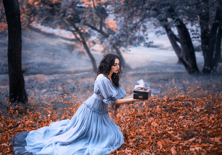 attractive brunette girl sits in a dark forest on fallen autumn orazhevyh leaves, dressed in a gray vintage dress with bare shoulders, holding in her hands an open Pandoras box full of evil, misery