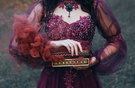 legend of Pandoras box, girl with black hair, dressed in a purple luxurious gorgeous dress, an antique casket opened, produces red smoke outside, along with diseases and curses. no face on art photo