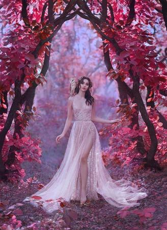 mystérieuse femme séduisante vêtue d'une longue robe de luxe légère dans une forêt rose magique, porte du monde des contes de fées, jolie chouette sorcière assise sur l'épaule de la princesse aux cheveux noirs, fille elfe avec jambe Banque d'images
