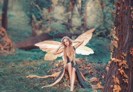 charming fairy woke up in forest, sweetly smacks after sleeping, cue girl with blond hair, eyes closed in long green dress with cut train, deep decolte, baby spirits with transparent butterfly wings